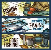 Fishing banner with fisherman tackle and fish. Fishing sport club sketch banner set with fisherman tackle, equipment and fish catch. Sea and river fish, fishing Stock Image