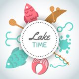 Fishing banner. Lake time text. Background with quote about fishing. Flat fish icons, with net or rod. Salmon steak and. Boat, fisher tackles, baits Vector Royalty Free Stock Image