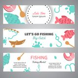 Fishing banner. Lake time text. Banners with quotes about fishing. Flat fish icons, with net or rod. Salmon steak and. Boat, fisher tackles, baits Vector Royalty Free Stock Photography