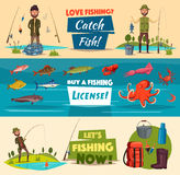 Fishing banner set with fishermen and fish. Fisherman with catch, spinning rod, hook and net, sea and river fish, octopus, crab, squid, shrimp and lobster Stock Image