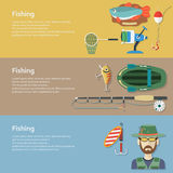 Fishing banners. Flat style. Stock Images