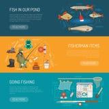 Fishing Banners Set Stock Photography