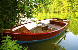 Fishing bark boat. Old rustic charming fishing boat parked in france Royalty Free Stock Photography