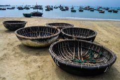 Fishing baskets on the beach Royalty Free Stock Images