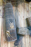 Fishing baskets made from bamboo with net Stock Images