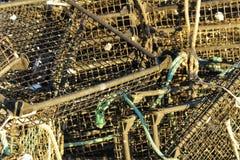 Fishing baskets in the port of Santa Pola, Alicante Stock Photos