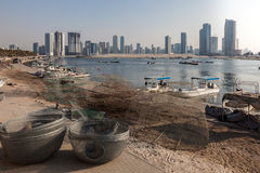 Fishing baskets at Sharjah Creek Royalty Free Stock Image