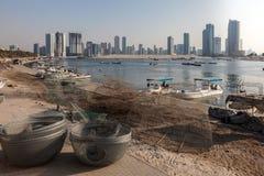 Fishing baskets at Sharjah Creek Royalty Free Stock Image