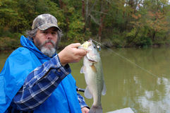 Fishing for bass. Experienced angler holding large mouth bass closeup royalty free stock photo