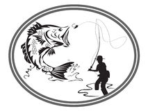 Fishing bass emblem Stock Photography