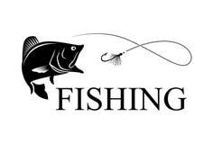 Fishing bass. Illustration draw fish hook and words fishing, EPS 10