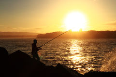 Fishing in the bay. Man fishing from the rocks. Gold Coast, Queensland Stock Image