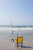 Fishing On The Beach Royalty Free Stock Photo