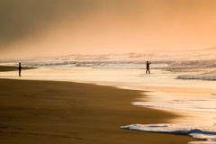 Fishing in the beach. Silhouette of two fishermen in a beach to the dusk Royalty Free Stock Photography