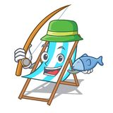 Fishing beach chair mascot cartoon. Vector illustration Stock Photography