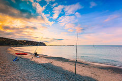Fishing from the beach at Rapid bay, South Australia. Fishing from the beach at Rapid bay foreshore, Fleurieu Peninsula, South Australia royalty free stock image