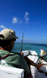 Fishing in belize central america. Fishing from boat in belize central america Royalty Free Stock Photos
