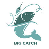 Fishing big fish catch vector isolated icon template. Big fish catch vector logo template. Fishing club or fisher market and fishery industry isolated icon or Stock Image
