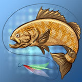 The Fishing. The big fish is jumping to catch the stock illustration