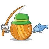 Fishing bitcoin coin character cartoon. Vector illustration Stock Photos