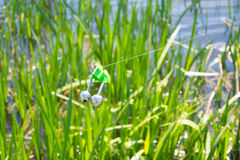 Fishing bite alarm. Bell in readinesson blurred green vegetation and river Stock Photo