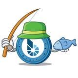Fishing BitShares coin mascot cartoon. Vector illustration Royalty Free Stock Photos