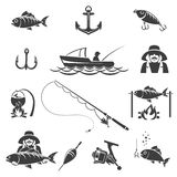 Fishing black icons vector set. Sport and fish hook, fisherman recreation illustration Stock Photos