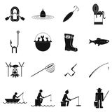 Fishing black simple icons set Royalty Free Stock Photo