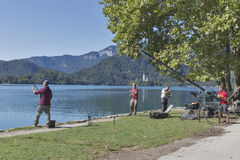 Fishing on Bled Lake in Slovenia Stock Image