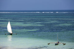 Fishing in the blue lagoon. Diani beach kenya Stock Images