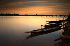 """Fishing boat . Fishing boat on the """"Moon River"""" in Thailand after sunset Royalty Free Stock Photography"""