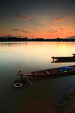 """Fishing boat . Fishing boat on the """"Moon River"""" in Thailand after sunset Royalty Free Stock Image"""