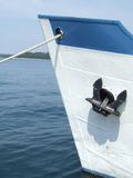 Fishing boat. White and blue fishing boat Stock Photography