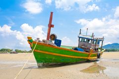 Fishing Boat. On beach.Taken at Rayong Beach Thailand royalty free stock photos