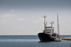 Fishing boat. Abandoned fishing vessel in the Cyprus coast Stock Images