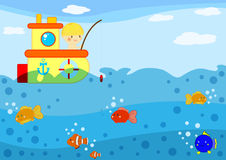 Fishing boat. Illustration about a cute little boy fishing from his boat in the ocean Royalty Free Stock Images