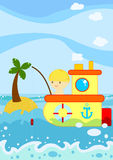 Fishing boat. Illustration about a cute little boy fishing from his boat in the ocean Stock Photography