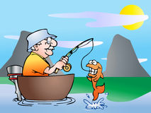 Fishing on boat. An old man fishing on boat in nature background illustration Royalty Free Stock Image
