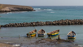 Fishing boat. S on the coast on Sal Stock Images