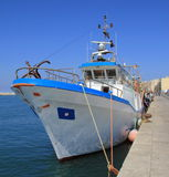 Fishing boat. Deep-sea fishing boat moored in the port of Trapani Stock Photo