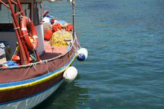 Fishing boat. At the east coast of Crete Greece Stock Photos