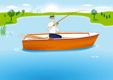 Fishing in Boat. A man fishing in a boat Royalty Free Stock Image