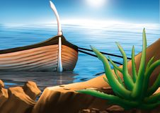 Fishing boat. Highly detailed cartoon background 15 - illustration Stock Photo