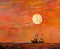 Fishing boat. Original oil painting of beautiful sunset over ocean(sea)  and fishing boat(ship) on canvas.Modern Impressionism Royalty Free Stock Photography