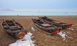 Fishing boat. Stop at the beach on the fishing boat Stock Images