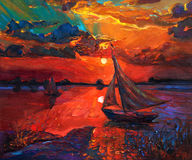 Fishing boat. Original abstract oil painting of fishing boat and sea on canvas.Rich Golden Sunset over ocean.Modern Impressionism Royalty Free Stock Image
