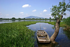 Fishing_boat. A boat on a fishing lake Stock Images