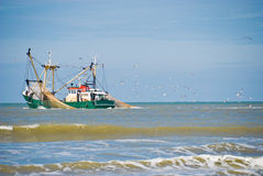 Fishing boat. Followed by seagulls Royalty Free Stock Images