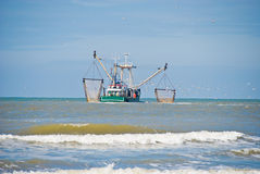 Fishing boat. Followed by seagulls Stock Photography