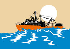 Fishing boat. Vector art of a Fishing boat battling big waves Royalty Free Stock Photo